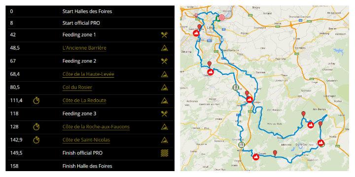 Liege-Bastogne-Liege route map