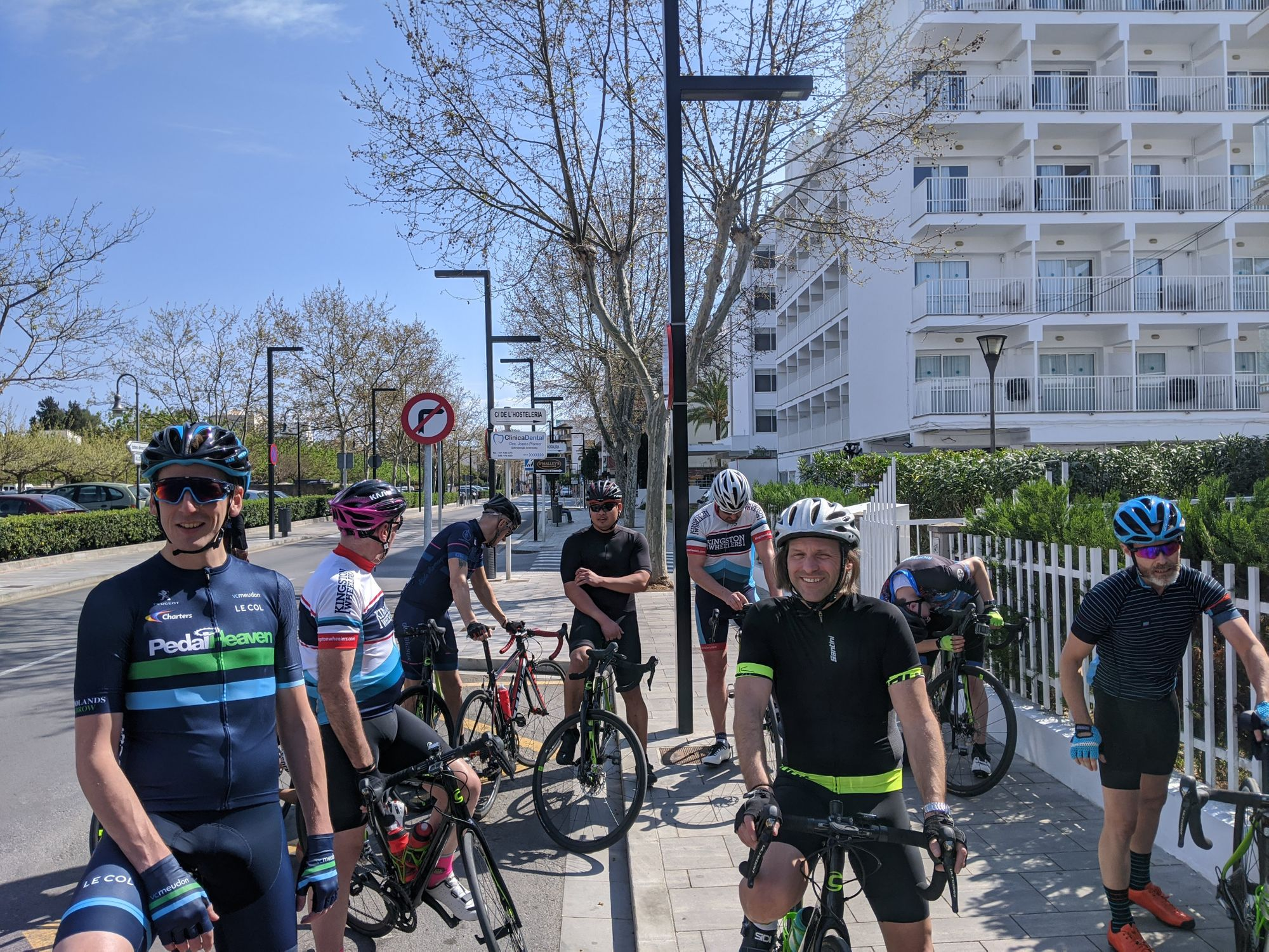 The Mallorca cycling crew gathering before the first day's ride