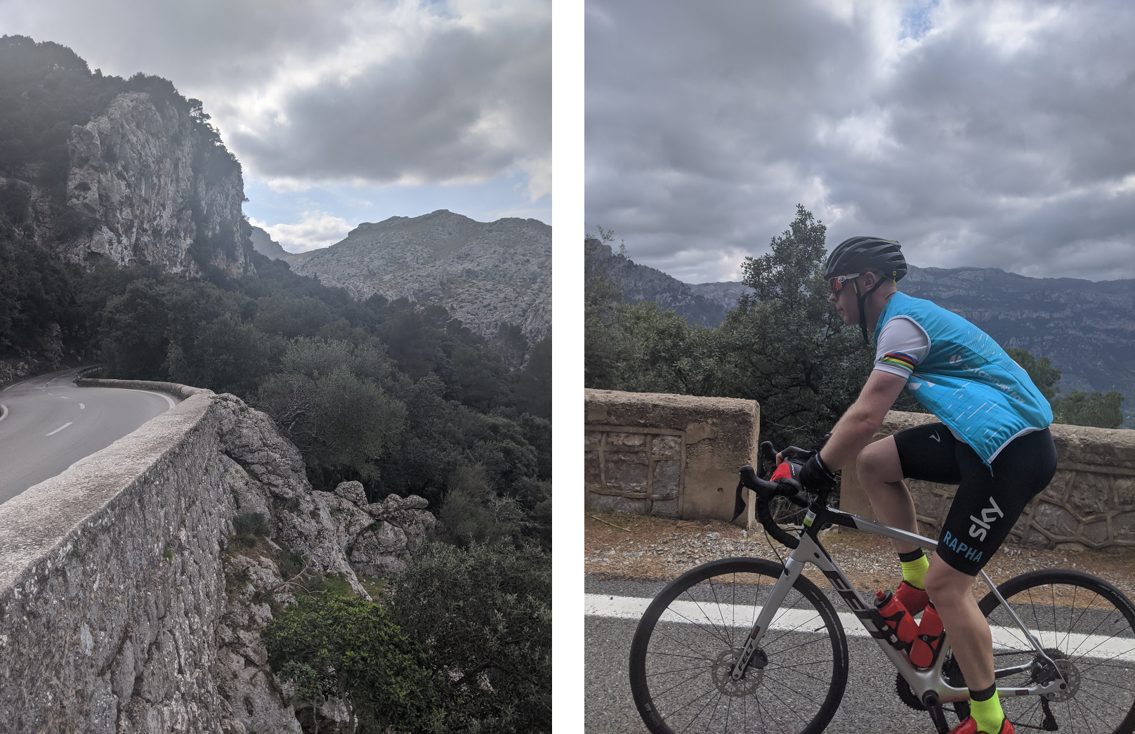 Riding up the Puig Major with Barry on the right