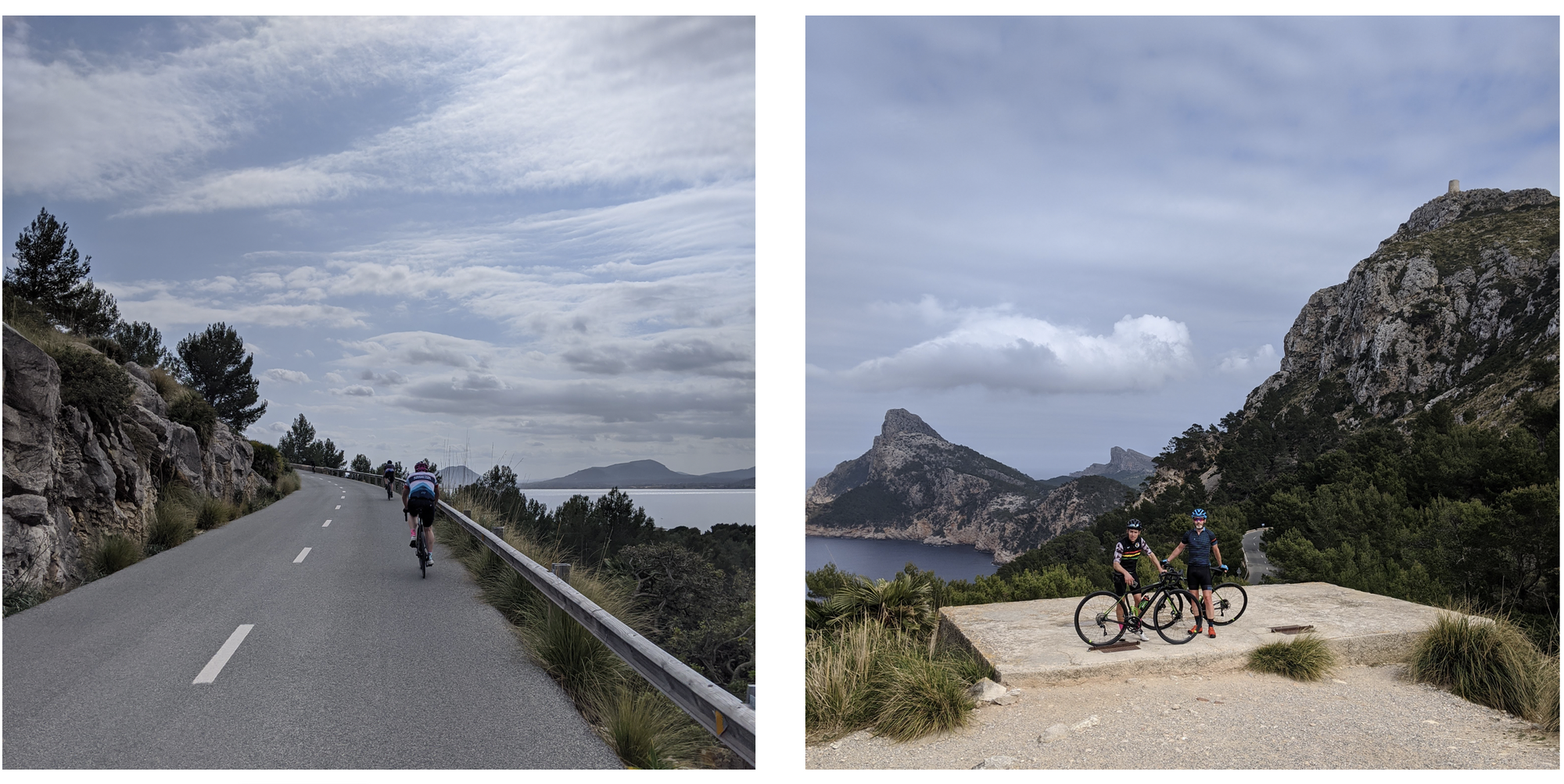 Heading up the Cap Formentor with James and Chris posing with their bikes