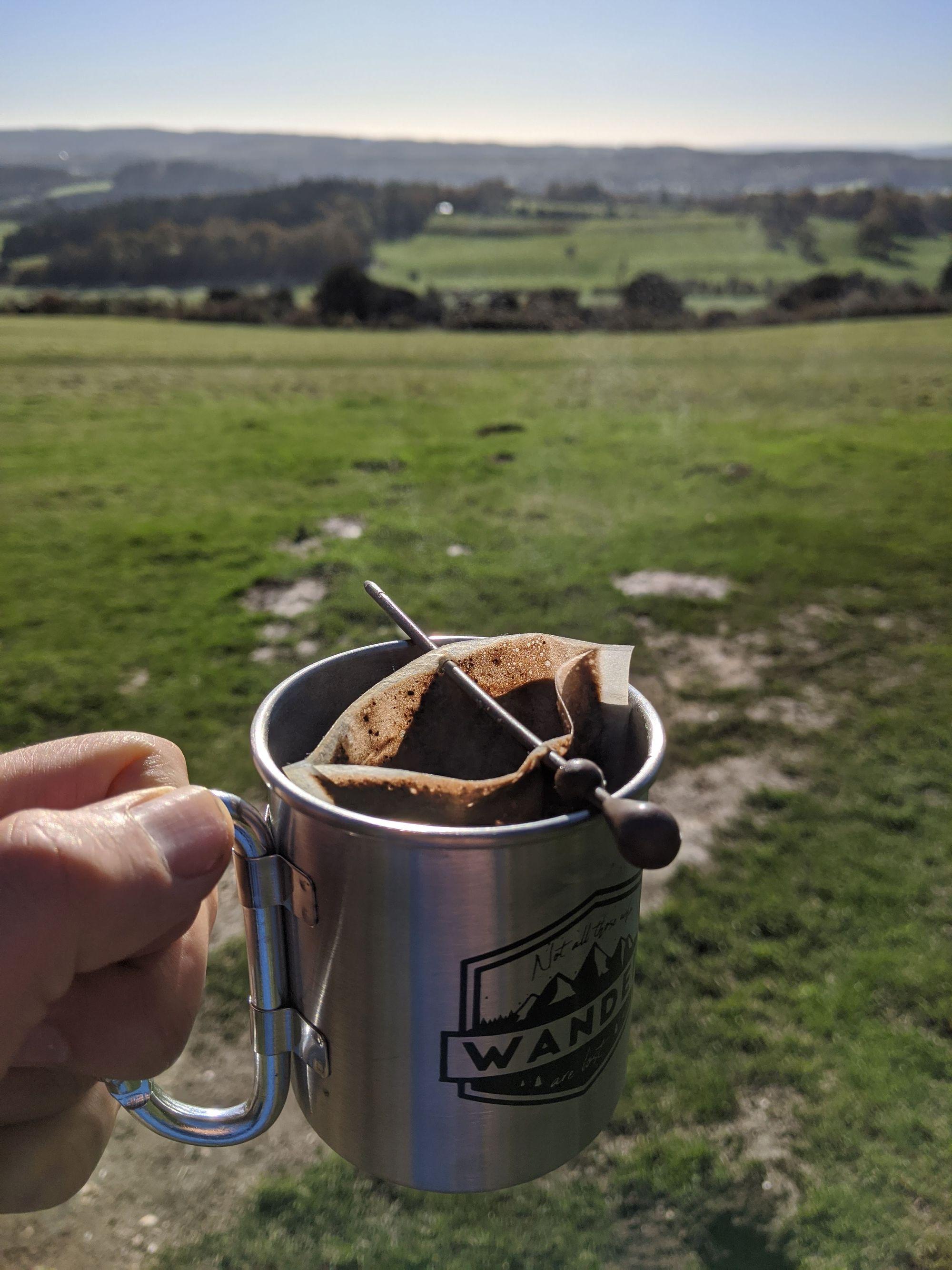 Coffee mug on a bikepacking trip