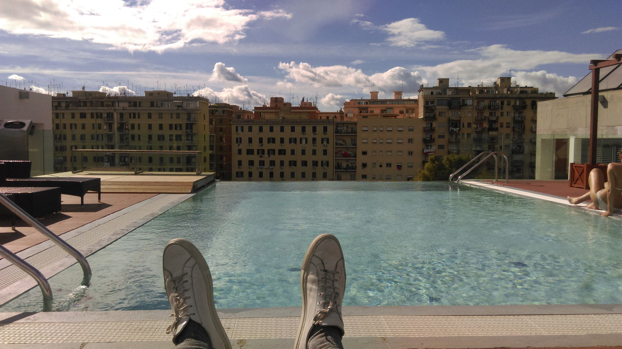 Rooftop pool at the Granfondo Roma