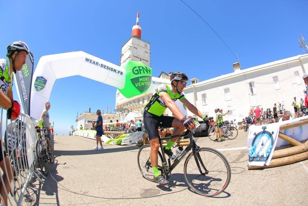 Andy finishing the GFNY Mont Ventoux sportive